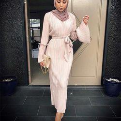 Musulmán arrugada falda lápiz Pliss Maxi vestido trompeta manga Abaya largo Robes túnica Oriente Medio Ramadán árabe islámico