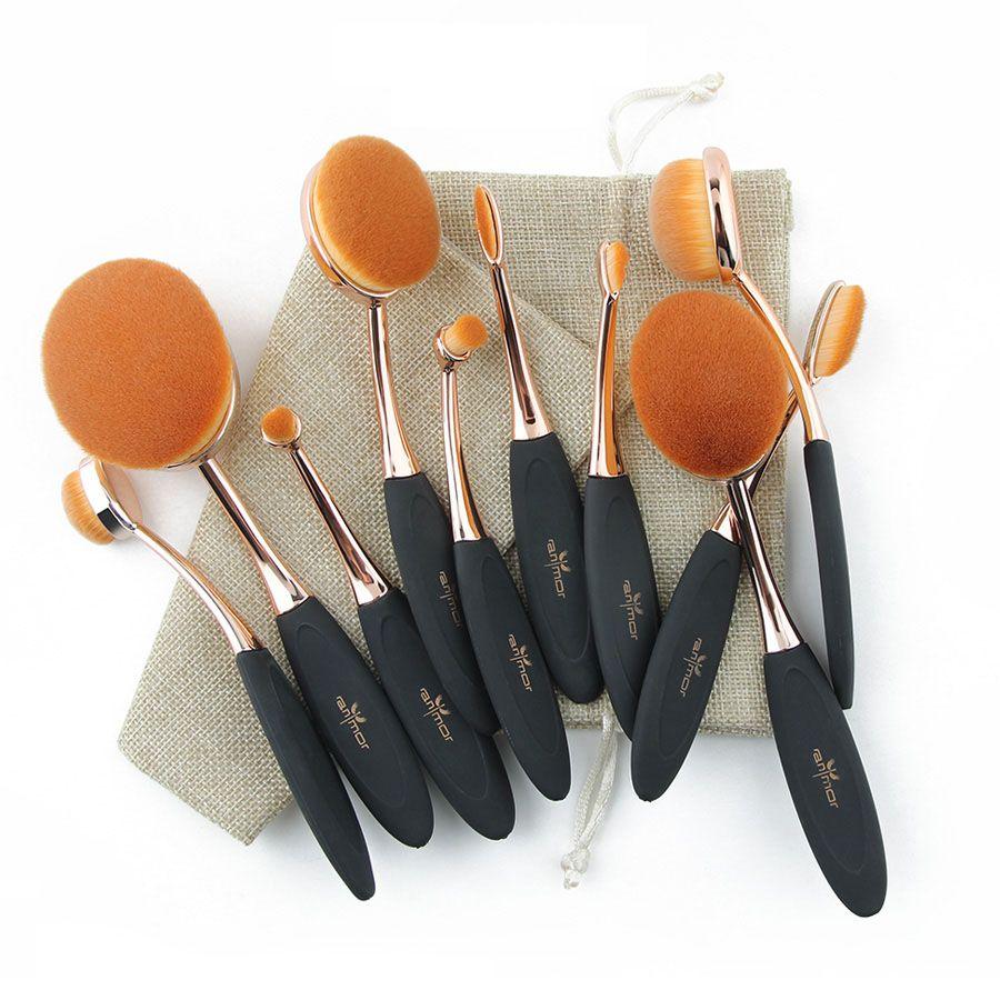 Professionnel 10 pcs Rose Or Ovale Maquillage Brosses Extrêmement Doux Maquillage Brush Set Fondation Pinceau Poudre Kit avec Sac
