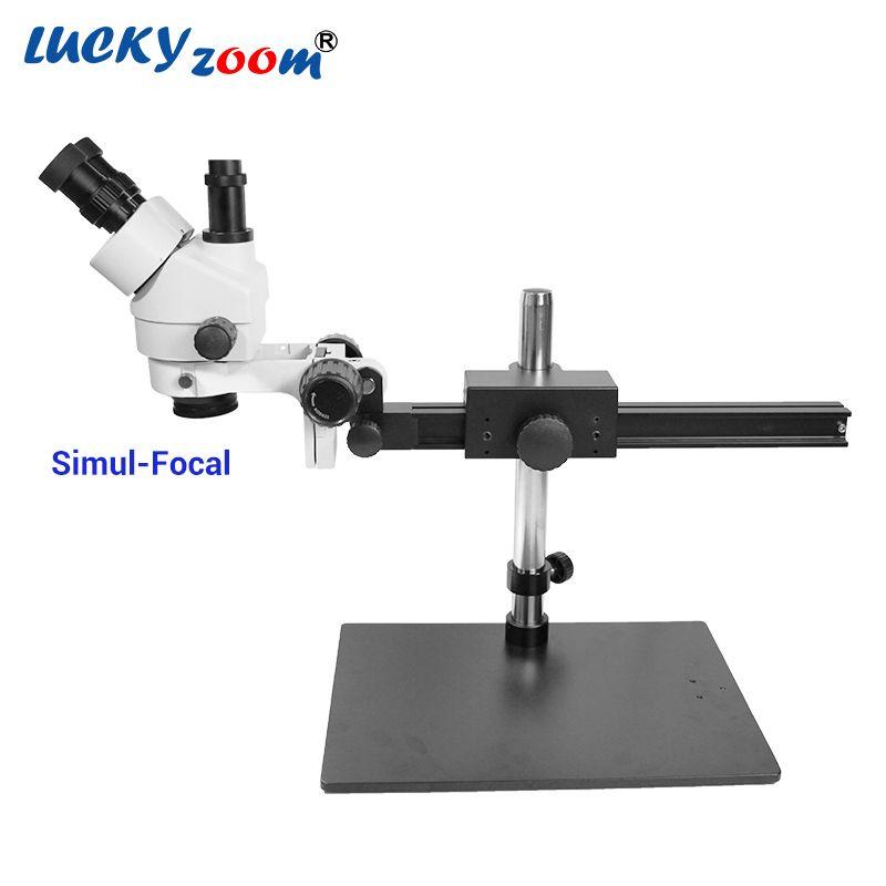 Luckyzoom 7X-45X Simul-Focal Trinocular Stereo Zoom Microscope Flexible Tripod Stand PCB Inspection Soldering Phone Microscopio