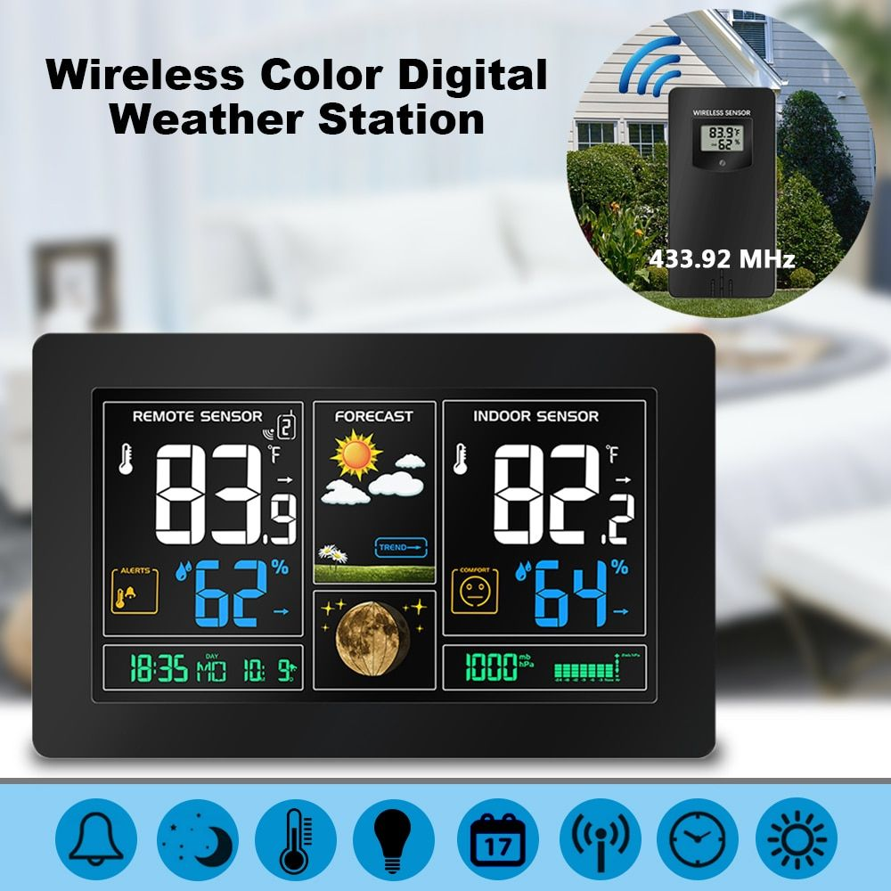 Wireless Color Digital LCD Display USB Outdoor Barometric Pressure Weather Station Hygrometer Thermometer Clock Sensor Instrumen