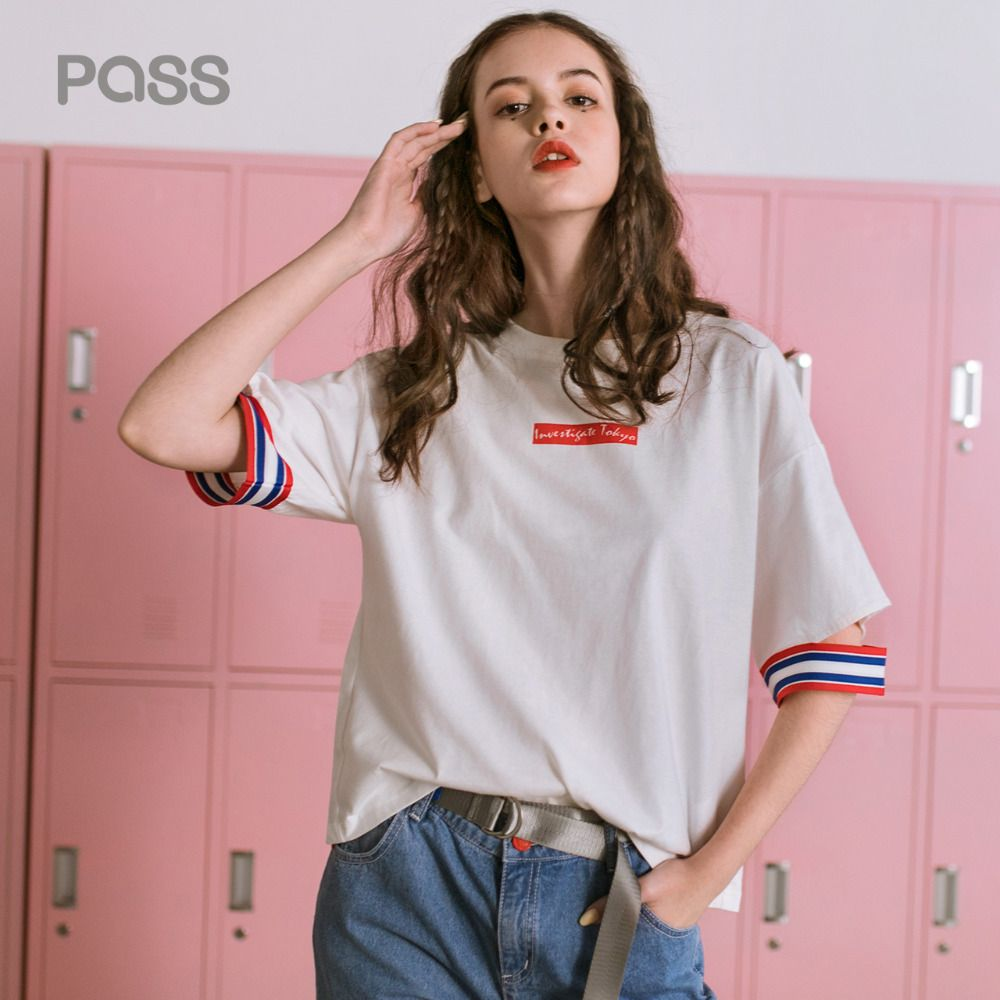 PASS Summer Women T Shirt Casual Stripe Patchwork Hollow Out Round Neck Shirt Female New Letter Printed T-Shirts