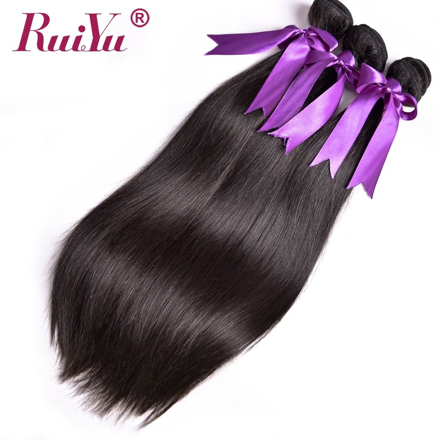 RUIYU Hair Peruvian Straight Hair Bundles Human Hair Bundles 1/3/4 Bundle Deals Double Weft NonRemy Hair Extension Natural <font><b>Color</b></font>