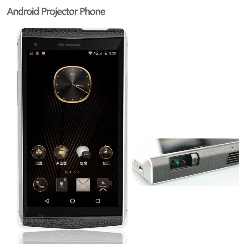 China Original Kcosit VVe Proyector Teléfono Android 6.0 Del Teléfono Móvil de Lujo Del Cuerpo de Cuero 5.9