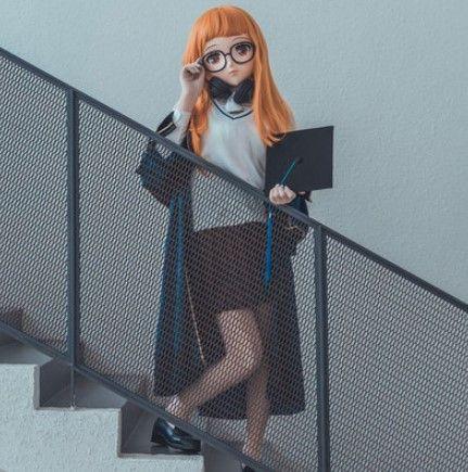 (KIG65) weibliche/Mädchen 3/4 Kopf Kigurumi BJD Augen Crossdress Cosplay Japanischen Anime Rolle Futaba Sakura Lolita Maske Crossdresser Puppe