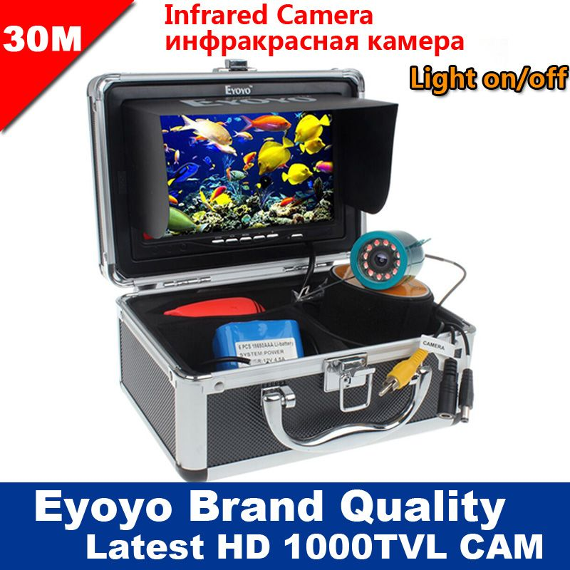 Eyoyo Original 30M 1000TVL Fish Finder <font><b>Underwater</b></font> Fishing Camera 7 Video Monitor AntiSunshine Shielf Sunvisor Infrared IR LED