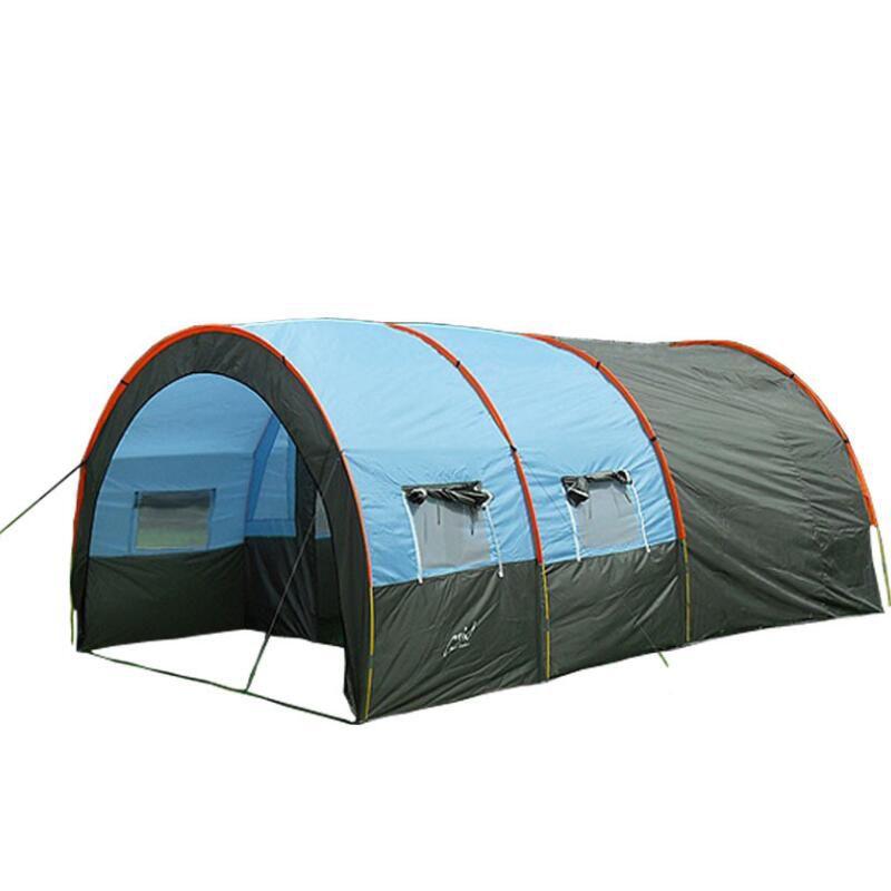 Grande tente de Camping toile imperméable en fibre de verre 4 8 personnes Tunnel familial 10 personnes tentes équipement extérieur alpinisme fête