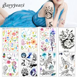 2018 1 Sheet Women Rose Flower Decal Tattoo KM-101 Water Transfer Waterproof Temporary Tattoo Sticker for Beauty Body Makeup Art