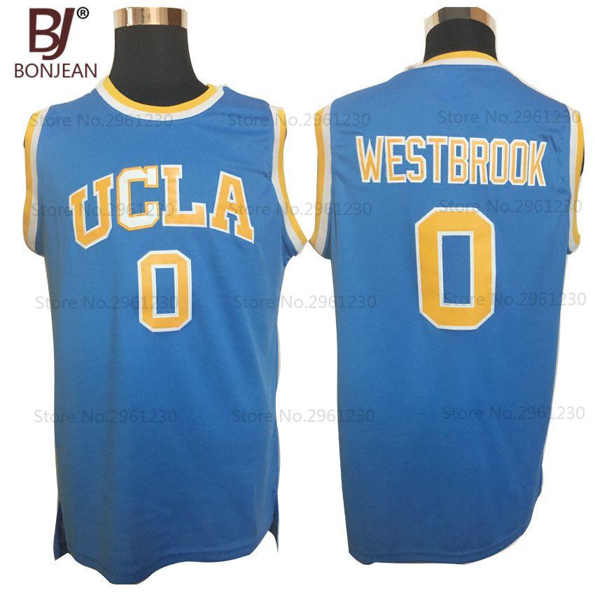 Bonjean дешевые Уэстбрук #0 ucla Брюинз Колледж Баскетбол Джерси ретро униформа прошитой мужские Рубашки для мальчиков 3 цвета