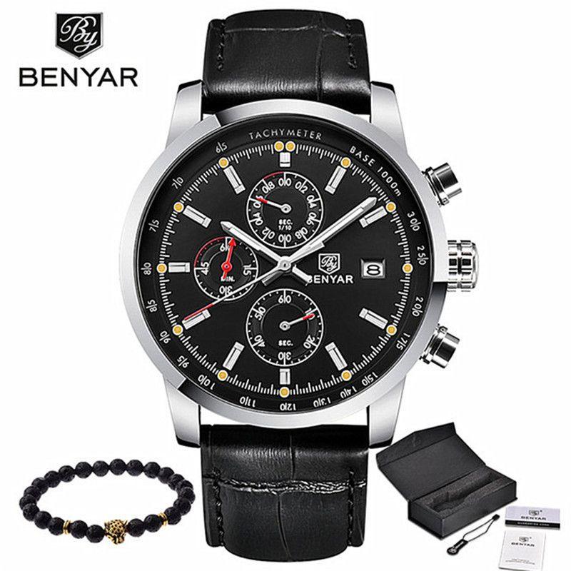 BENYAR mode décontracté hommes montres de luxe marque en cuir affaires Quartz montre hommes étanche montre-bracelet Relogio Masculino