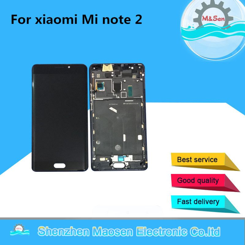 Original M&Sen For 5.7 xiaomi note 2 Mi note 2 LCD screen display+ touch panel digitizer with frame Gray/Black free shipping