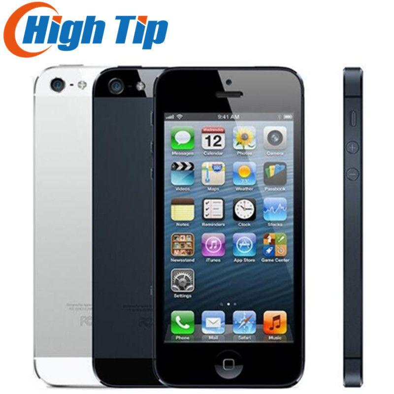 100% Factory Original Iphone 5 Sealed box Unlocked Apple Cell phone 16GB 32GB ROM 16GB 32GB 64GB IOS 4.0 <font><b>inch</b></font> 8MP WIFI GPS Used