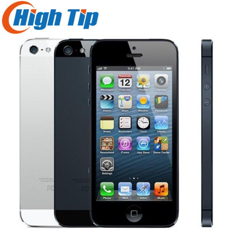 100% Usine D'origine Iphone 5 boîte Scellée Débloqué Apple téléphone portable 16 gb 32 gb ROM 16 gb 32 gb 64 gb IOS 4.0 pouce 8MP WIFI GPS Utilisé