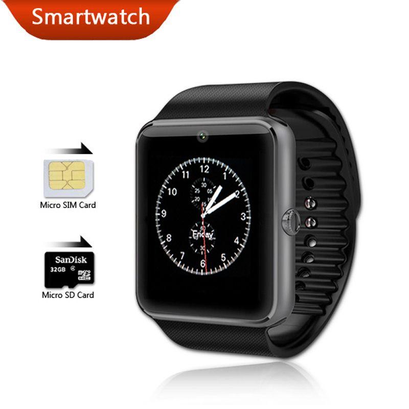 Смарт-часы gt08 Bluetooth здоровья Android Wear SmartWatch Водонепроницаемый мобильного телефона Фитнес Часы Камера часы PK dz09 gv18
