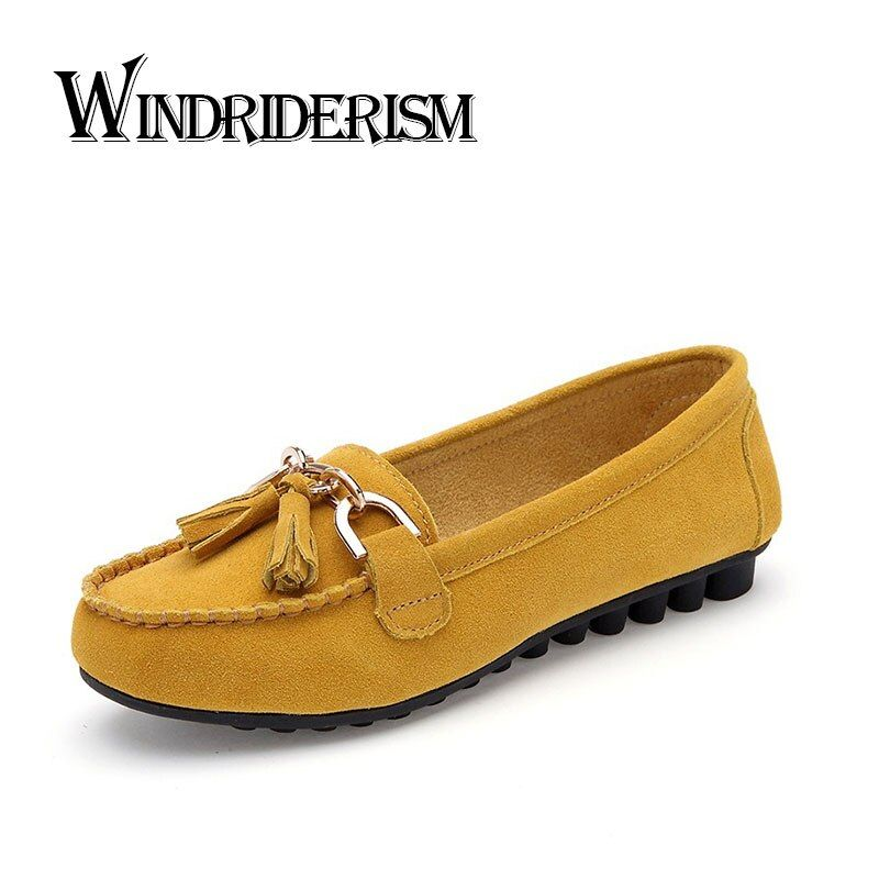 WINDRIDERISM New 2017 Women Suede Leather Loafers Moccasin Shoes Fringe Decoration Zapatos Mujer Flat Heels Women Driving Shoes