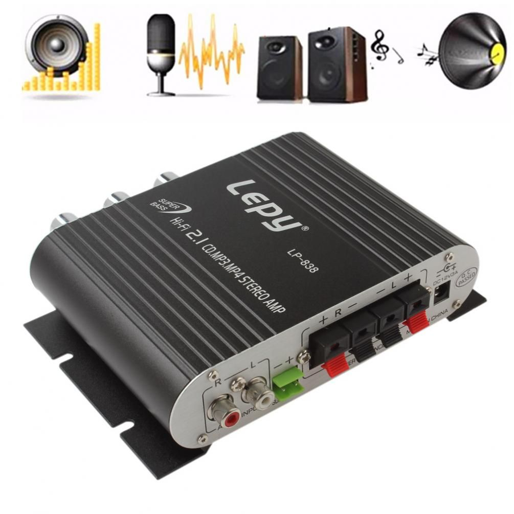 Universal Black 12V Hi-Fi Car Amplifier Booster Radio MP3 Auto Stereo Amplifier for Car Motorcycle Home