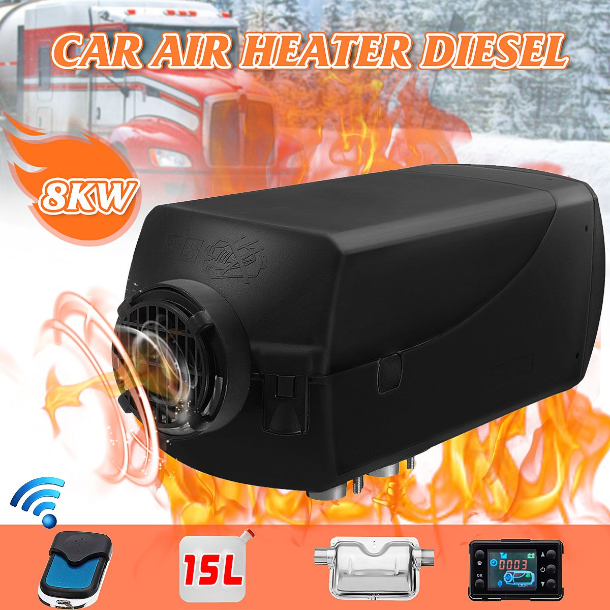 Car Air Heater 12V 8KW LCD D iesel Silencer 15L Tank Planar Trucks Boat Motorhome Parking With Remote Control LCD Monitor for RV