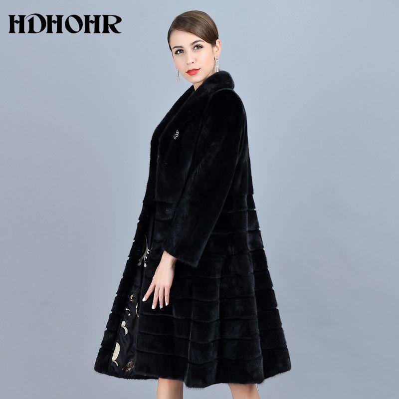 HDHOHR 2018 Mode Natürliche Nerz Pelz Mäntel Frauen Gute Qualität Schwarz Echtes Pelz Parkas Warme Winter Lange Echt Nerz Jacke weibliche
