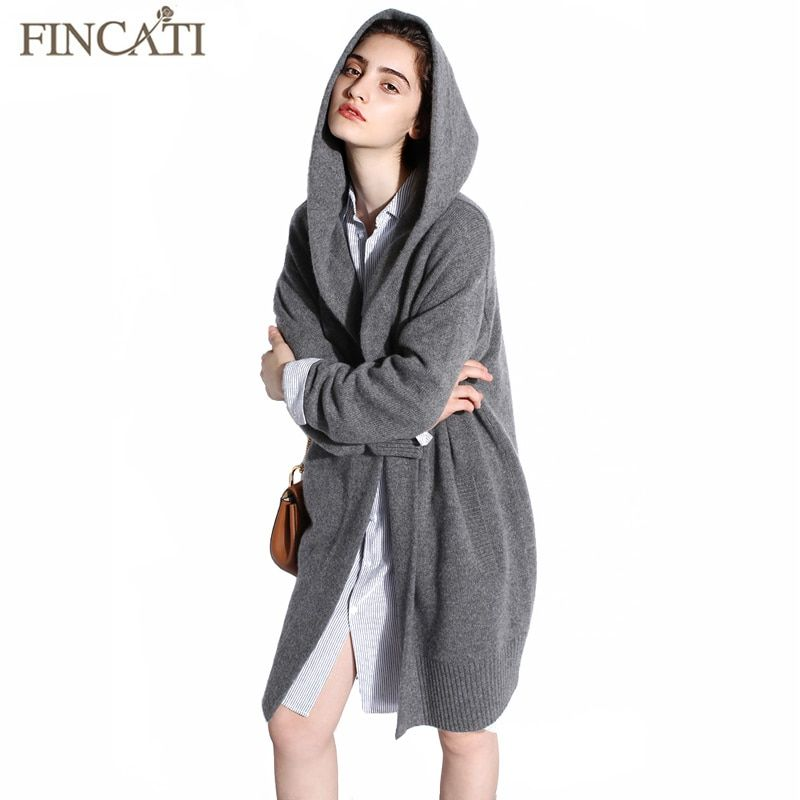 Women Cardigan 2017 High-End Spring Autumn Pure Cashmere Open Stitch Hooded Cardigans Fluffy Sweater Outwear Clothing