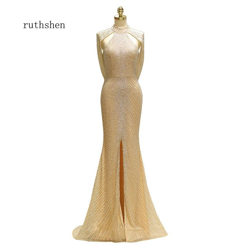 ruthshen 2018 New Sexy Slit Mermaid Style Formal Evening Gowns Robes De Soiree Evening Dresses Special Occasion Dresses