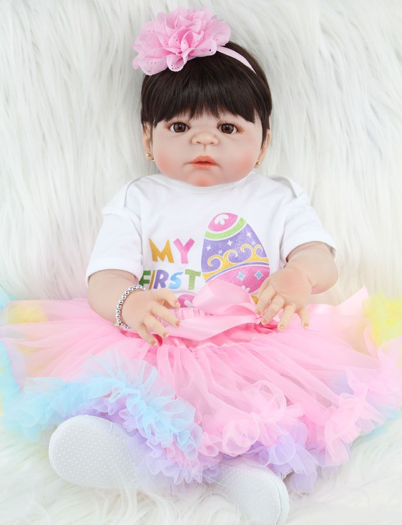 NPKCOLLECTION 55cm Full Silicone Reborn Girl Baby Doll Toys Realistic Newborn Princess Babies Doll Lovely Birthday Gift Present