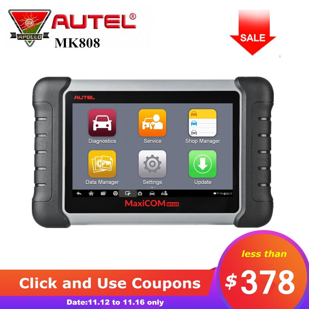 Autel MaxiCOM MK808 Diagnostic Tool OBD2 Code Reader obd 2 Scanner With Full Systems as MD802 All System + MaxiCheck Pro MX808