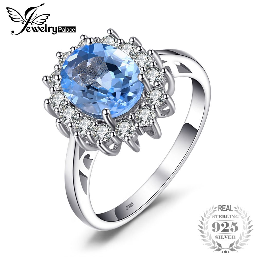 JewelryPalace Princess Diana William Kate 2.3ct Natural Blue Topaz Engagement Halo Ring 100% 925 Sterling Silver Ring for Women