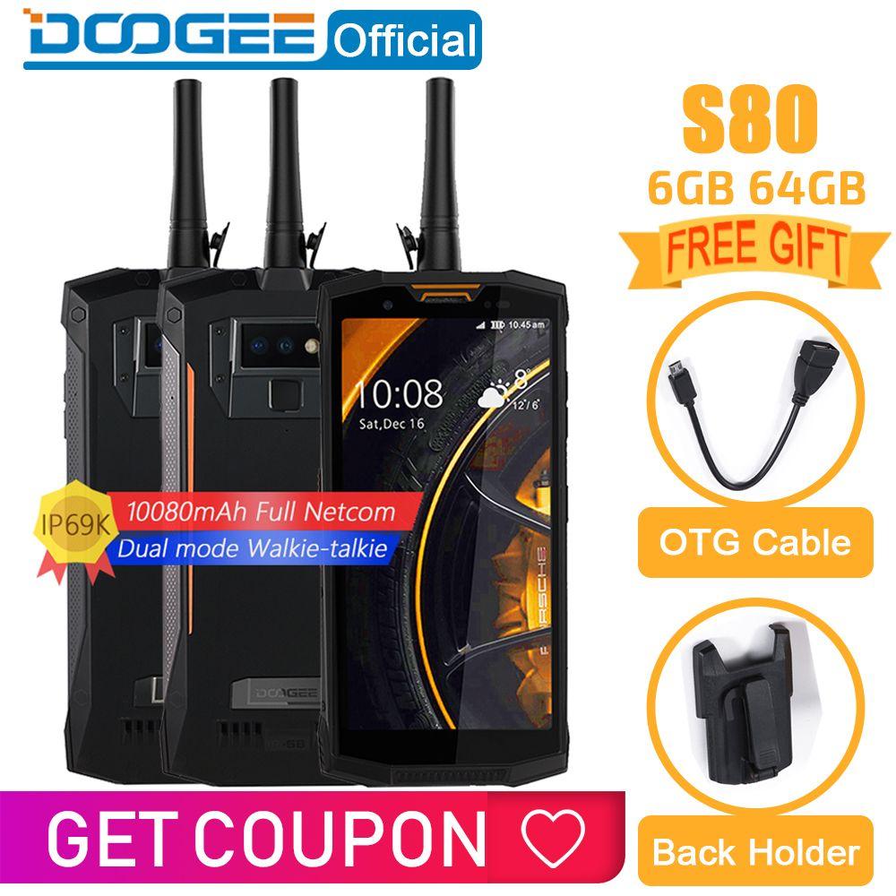 IP68/IP69K Walkie talkie DOOGEE S80 Handy Drahtlose Lade NFC 10080mAh 12V2A 5,99 FHD Helio P23 Octa core 6GB 64GB 16,0 M