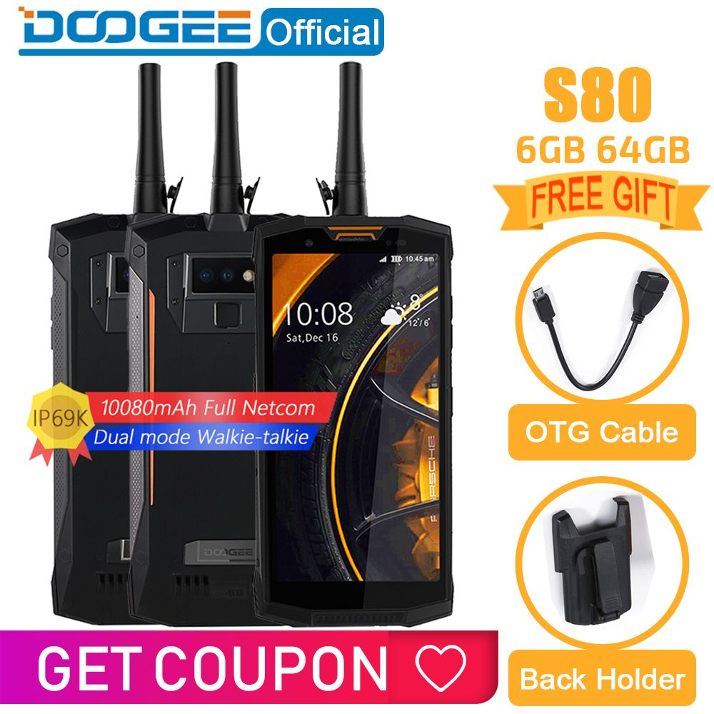 IP68/IP69K Walkie talkie DOOGEE S80 Handy Drahtlose Lade NFC 10080 mAh 12V2A 5,99 FHD Helio P23 Octa core 6 GB 64 GB 16,0 M