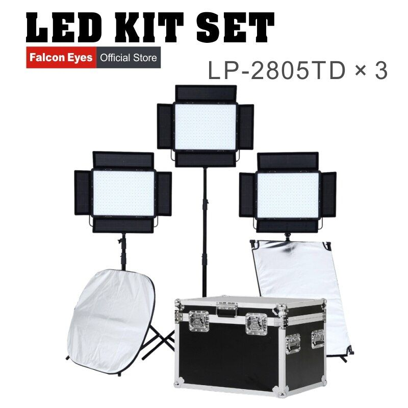 Falconeyes 140W Video Light LED Light Panel CRI95 Dimmable LED Studio Continuous lighting LP-2805TD kit