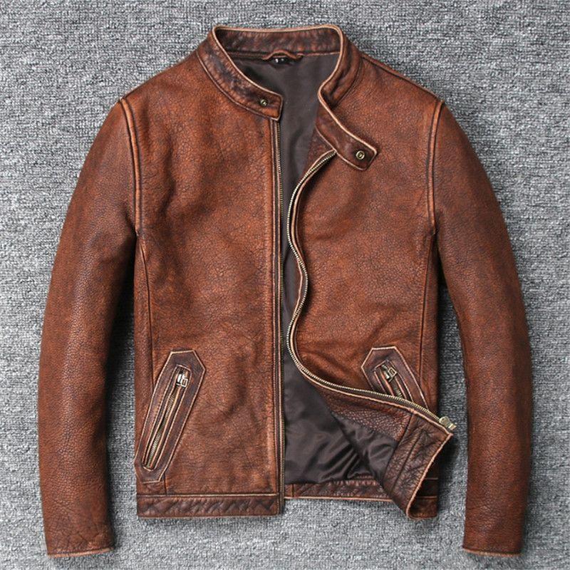 Biker jacke Mode Reine Kuh Leder Mantel Für Männliche Frühling Herbst Geniune Leder Jacken Kurze Schlanke Motorrad Vintage Outwear