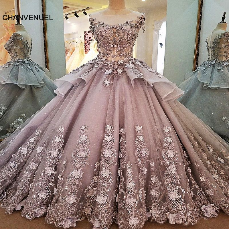 LS00056 evening dresses long flowers zipper back robe de soiree 2018 solde elegant grey ball gown evening dress real photos