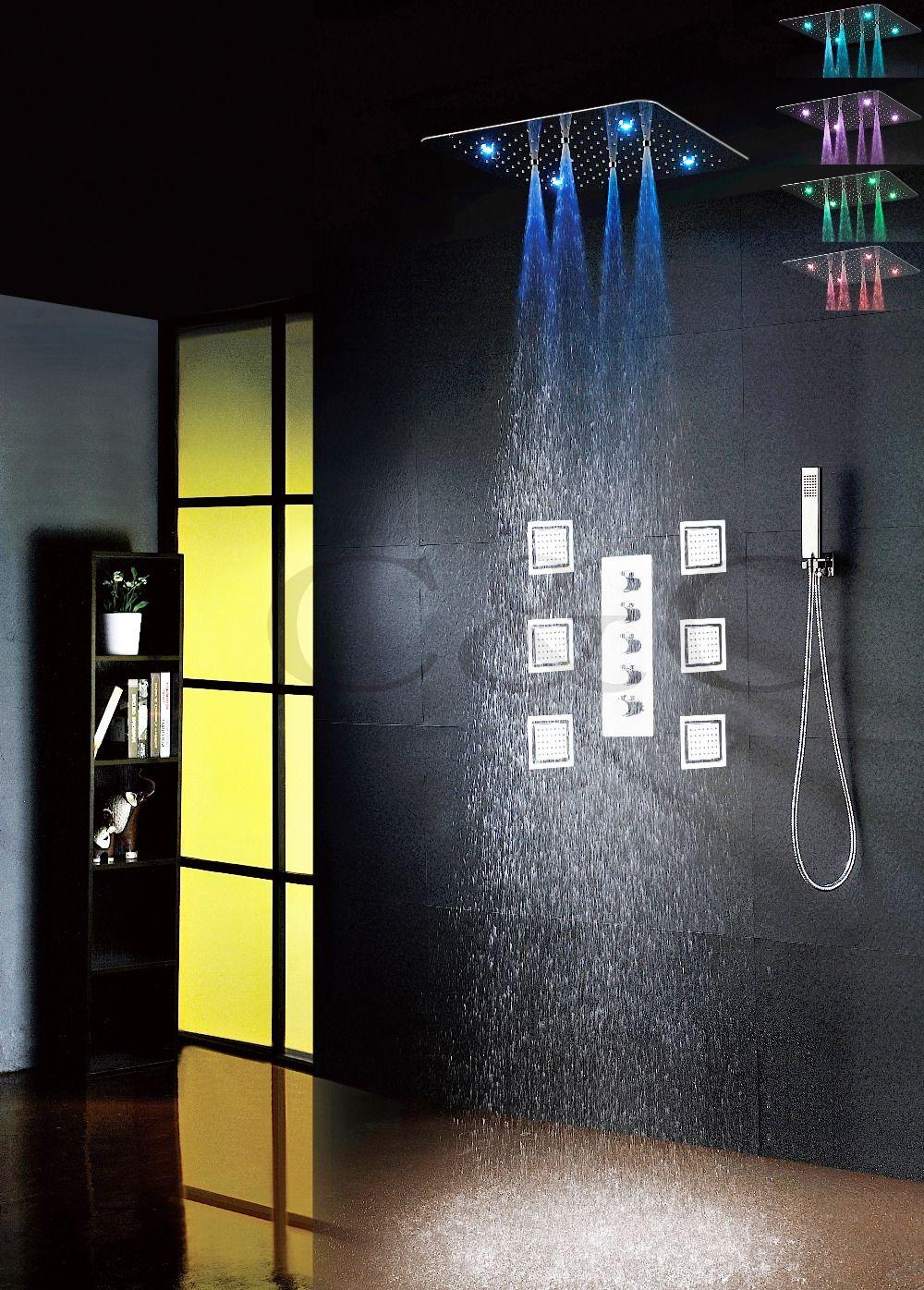 Luxury LED Bathroom Shower Faucet Set 20 Inch Ultra-thin 7 Colors 100V~240V AC LED Shower Head Big Massage Bath Spray Jets