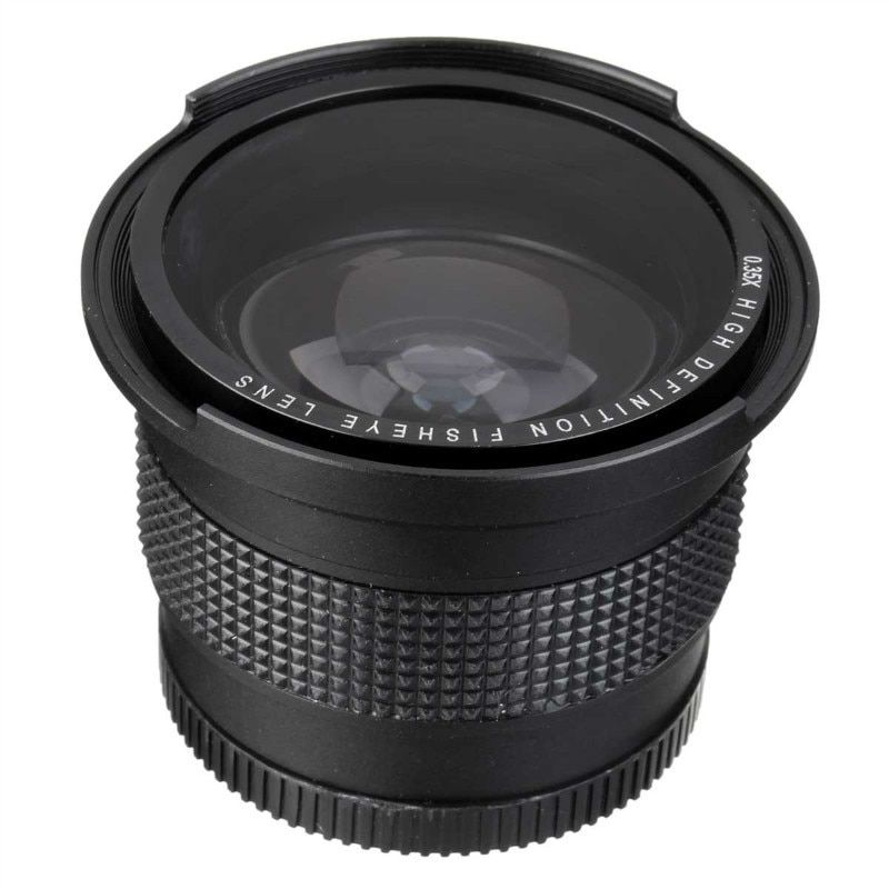 Lightdow 52 MM 0.35x objectif Fisheye Super grand Angle + Macro pour Nikon D7100 D5200 D5100 D3100 D90 D60 avec objectif 18-55mm