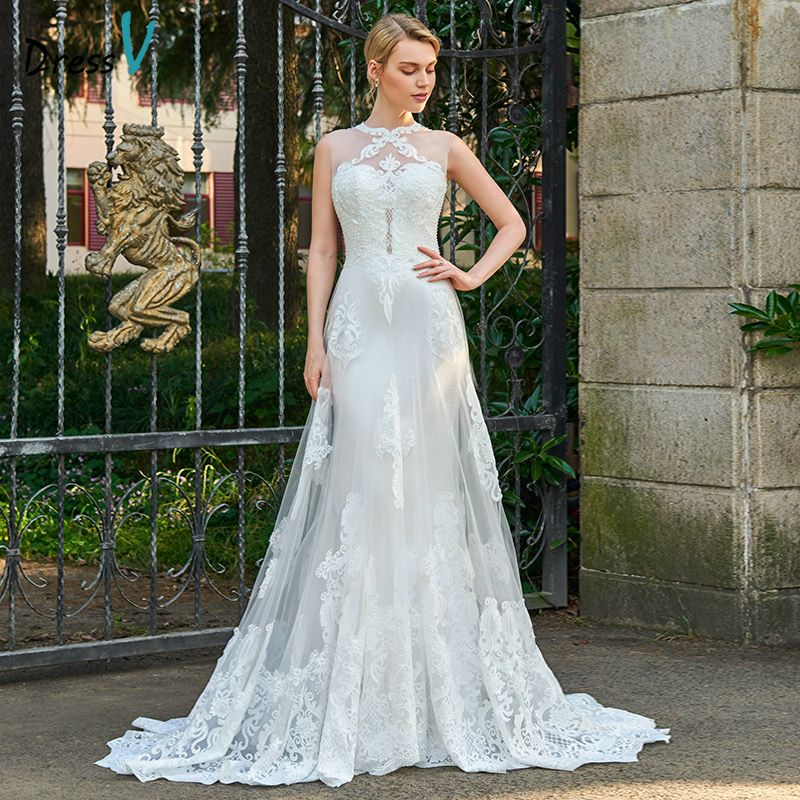 Dressv appliques lace scoop neck wedding dress sleeveless court train zipper up bridal outdoor&church sheath wedding dresses