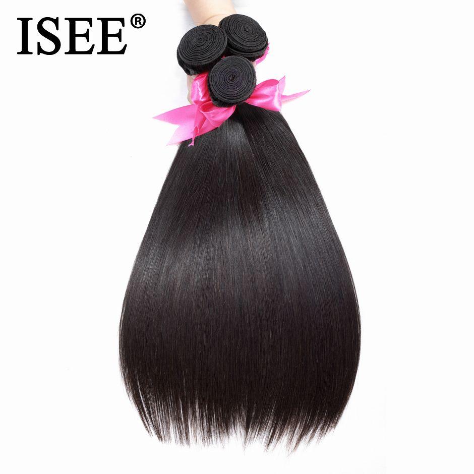 ISEE CHEVEUX Malaisiens Cheveux Raides Tisse Faisceaux De Cheveux Humains 10-26 pouce Remy Extension de Cheveux Nature Couleur Livraison Gratuite
