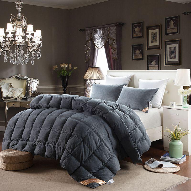 Роскошные Duck/гусиный пух одеяло стеганое одеяло Твердые лоскутное зимнее одеяло 100% хлопок стиральная многоцветный Один/Queen/King Размеры одея...