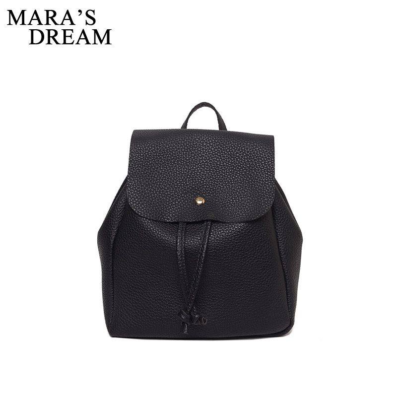 Mara's Dream 2017 Women Backpack High Quality PU Leather Solid Black Color School Bags Teenagers Girls Top-handle Backpacks Girl