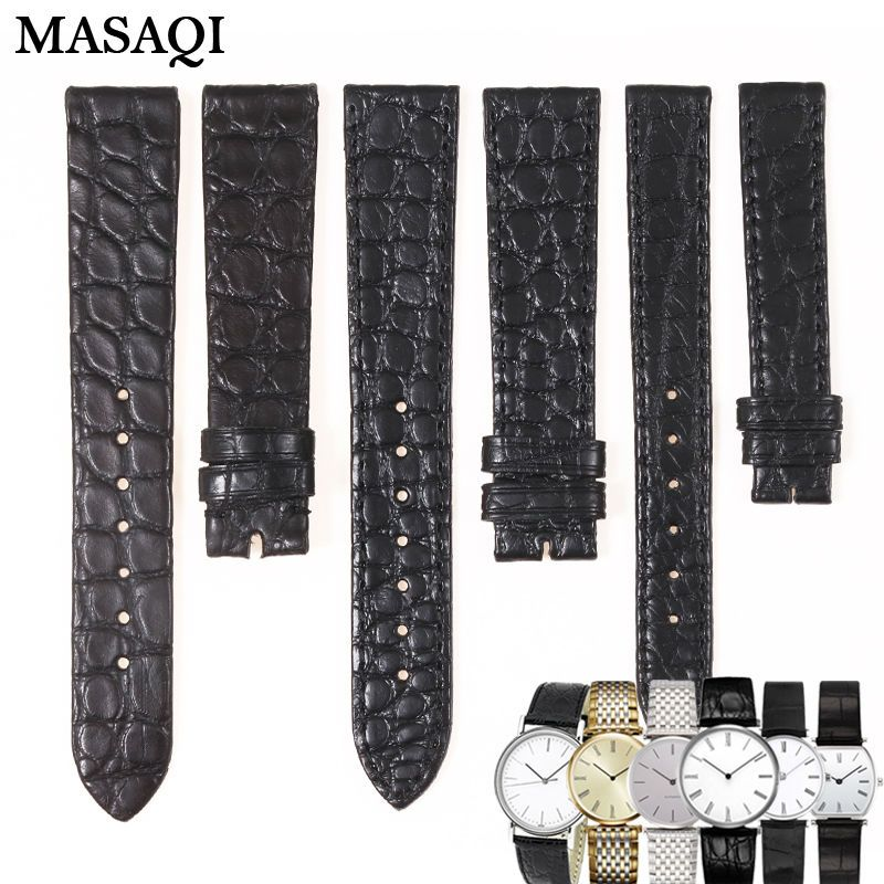 MASAQI High Quality Alligator skin Leather Round WatchBand Black Genuine Leather Watch Strap for Longines L4708/L4209 18mm/13mm