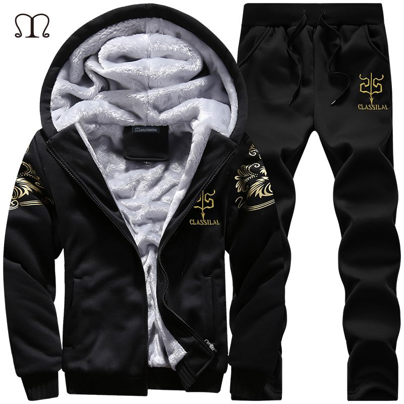 Winter Thick Inner Wool Hoodie Men Hat Casual Warm Suit Men Zipper Active Suits For Men Outwear + Pants Moletons Masculino 2018