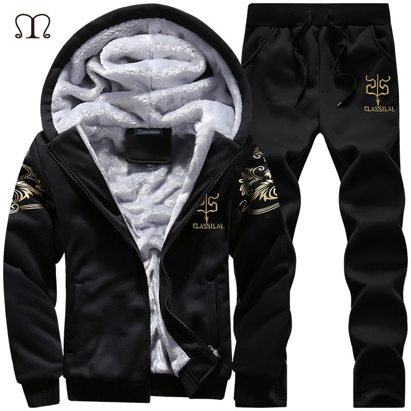 Winter Thick Inner Wool Hoodie Men Hat Casual Warm Suit Men Zipper Active Suits For Men Outwear + Pants Moletons Masculino 2018