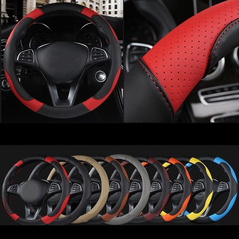 DERMAY Sport Style Contrast Color Non-slip Sweat Good Breathable PU Leatherette 15 Inch Car Steering Wheel Cover Free Shipping