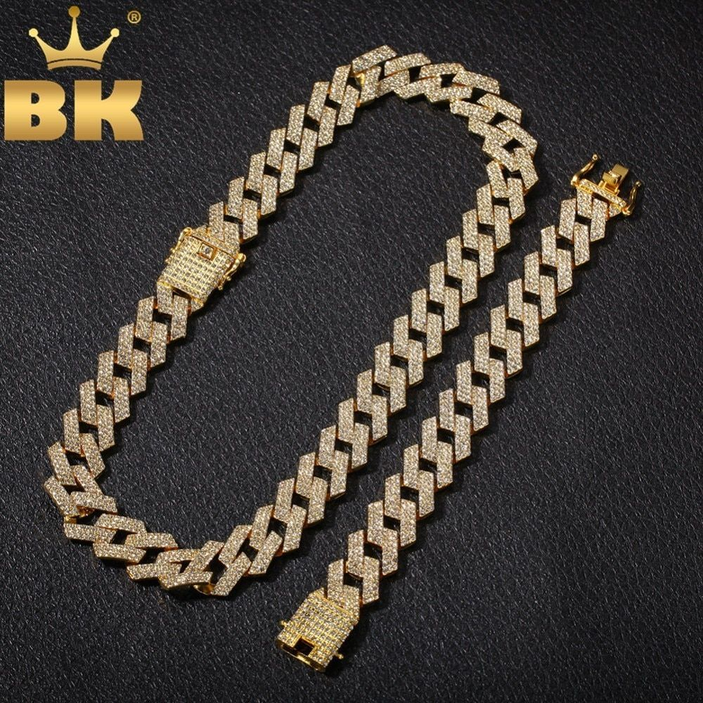 THE BLING KING 20mm Miami Prong Cuban Chain NE+BA 3 Row Full Iced Out Rhinestones Necklace & Bracelet Mens Hiphop Jewelry Set