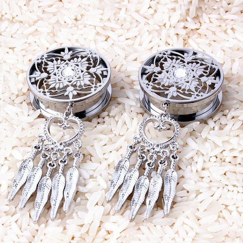 1 Pair Hot Dream Catcher Feather Dangle Steel Ear Plug Flesh Tunnels Ear Expander Reamer Fashion Body Piercing Jewelry 8-25mm