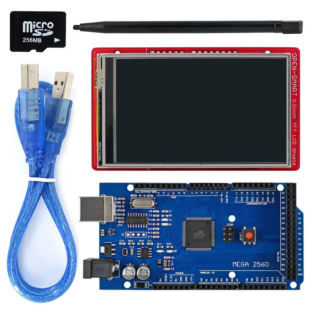 3.2 pouces TFT module afficheur lcd écran tactile Bouclier Kit à bord capteur de température + Tactile Stylo/TF carte/Mega2560 pour Arduino