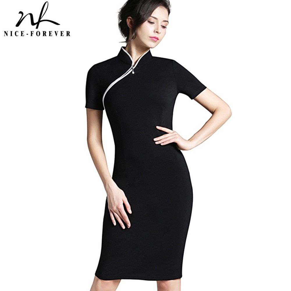 Nice-Forever Women Formal Elegant Stand Collar Rockabilly Pinup Plus size Short Sleeve Vintage Bodycon <font><b>Business</b></font> Work Dress b60