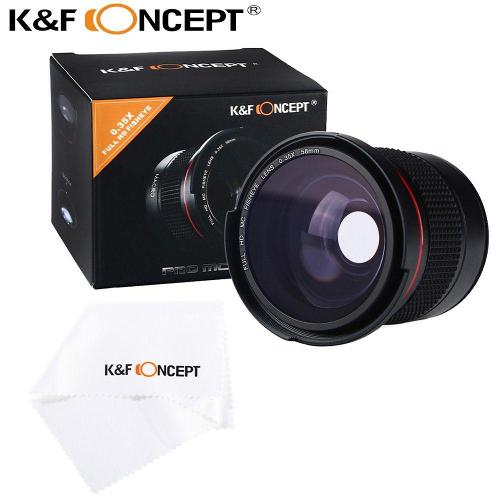 K & F Concept 58MM 0.35X Ultra clair bleu Film enduit lentille oeil de poisson + chiffon en microfibre pour Canon Nikon DSLR appareils photo livraison gratuite