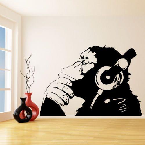 G177 Banksy Vinyl Wand Aufkleber Affe Mit Kopfh&ouml Eine Farbe Affe Musik Sticker Orangutan Music Decal Mural Art Wall Decor