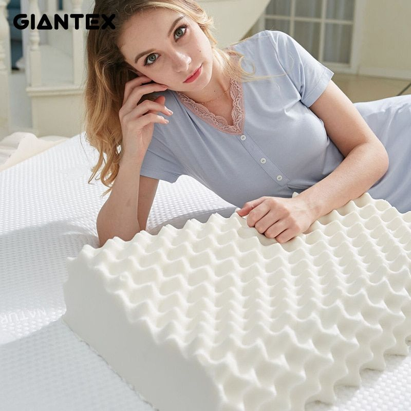 GIANTEX 60x38cm Natural Latex Pillow Sleeping Bedding Cervical Massage Pillow Health Neck Bonded Head Care Memory Pillow U1166