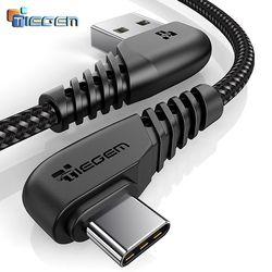 Tiegem 90 grados USB tipo C cable 2A USB-C cable de carga rápida tipo C cable para Nintendo switch samsung s8 oneplus 5 pixel 2