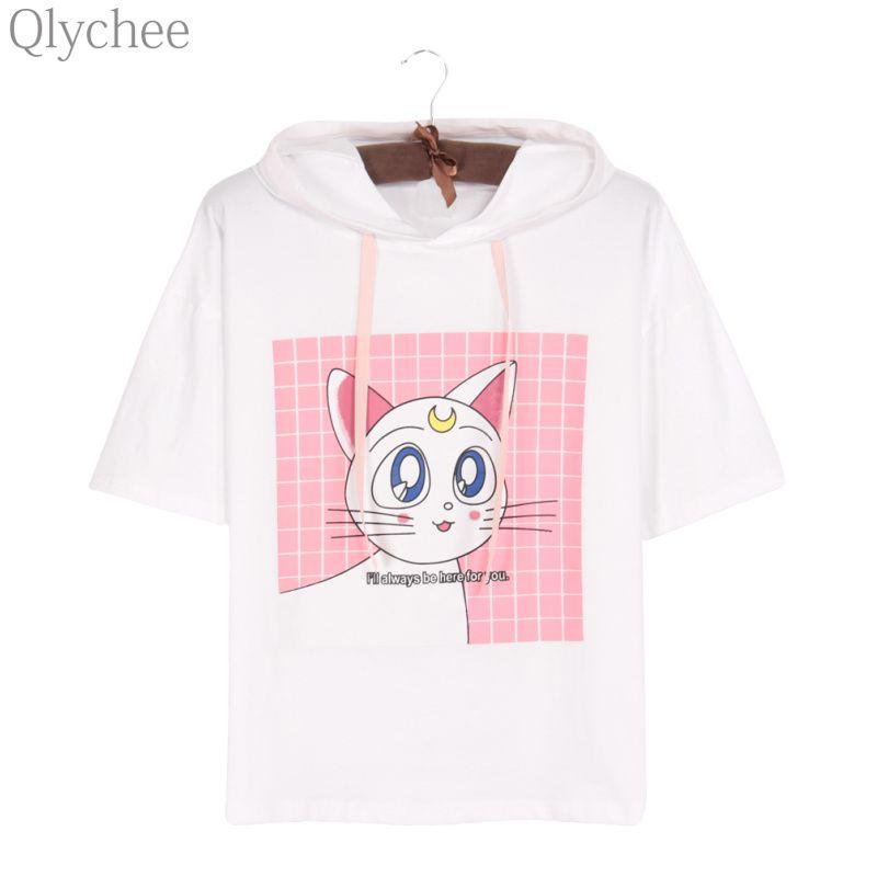 Qlychee Japon Anime Sailor Moon Blanc T-shirt Luna Chat Oreille Sweat À Capuche T-shirt À Manches Courtes Imprimé Décontracté Haut T-shirt pour Les Femmes
